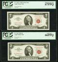 Small Size, Fr. 1513 $2 1963 Legal Tender Note. PCGS Gem New 66PPQ;. Fr. 1513* $2 1963 Legal Tender Star Note. PCGS Superb Gem New 67P... (Total: 2 notes)