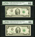 Error Notes:Ink Smears, Ink Smear Error and Bookend Fr. 1936-F $2 1995 Federal ReserveNotes. Two Consecutive Examples. PMG Choice Uncirculated 64 EPQ...(Total: 2 notes)