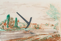 Claes Oldenburg (b. 1929) Pickaxe (Spitzhacke) Superimposed on a Drawing of the Site by E.L. Grimm, 198