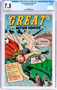 Great Action Comics #9 (I.W., 1958) CGC VF- 7.5 Off-white to white pages