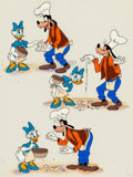 Animation Art:Color Model, Goofy and Daisy Duck Book Illustration Cel with Painted Background (Walt Disney, c. 1970s-80s)....