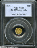 California Fractional Gold: , 1853 50C Liberty Round 50 Cents, BG-409, R.3, AU58 PCGS. Ex: BruceCollection. Dusky tan-gold and olive color. A late die s...