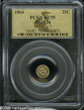 California Fractional Gold: , 1866 25C Liberty Round 25 Cents, BG-824, High R.5, AU55 PCGS. Lilacand yellow-green color graces this glossy representativ...