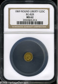 California Fractional Gold: , 1869 25C Liberty Round 25 Cents, BG-828, High R.4, MS62 NGC. Theobverse was struck from heavily lapped dies and the luster...