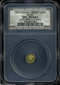 California Fractional Gold: , 1871 25C Liberty Round 25 Cents, BG-838, R.2, Unc Details,Improperly Cleaned, NCS....