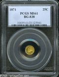 California Fractional Gold: , 1871 25C Liberty Round 25 Cents, BG-838, R.2, MS61 PCGS. A brightand flashy lemon-gold piece with wispy handling marks in ...