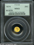 California Fractional Gold: , 1874 25C Indian Round 25 Cents, BG-876, Low R.4, MS63 PCGS.Greenish-gold fields reveal brighter honey patina when rotated ...