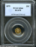 California Fractional Gold: , 1875 25C Indian Round 25 Cents, BG-878, R.3, MS64 PCGS. Orange,rose, and olive colors endow this splendid example, identif...