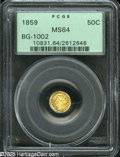 California Fractional Gold: , 1859 50C Liberty Round 50 Cents, BG-1002, High R.4, MS64 PCGS. Anolder holder gold Half Dollar with flashy apricot-gold fi...