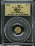 California Fractional Gold: , 1868 50C Liberty Round 50 Cents, BG-1008, Low R.5, AU58 PCGS. Arichly toned example of this elusive variety. Golden-brown ...