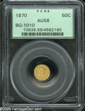 California Fractional Gold: , 1870 50C Liberty Round 50 Cents, BG-1010, R.3, AU58 PCGS.Greenish-gold fields complement lilac-gray devices. A few faintp...