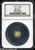 California Fractional Gold: , 1871 50C Liberty Round 50 Cents, BG-1011, R.2, MS62 ProoflikeNGC....