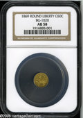 California Fractional Gold: , 1869 50C Liberty Round 50 Cents, BG-1020, Low R.4, AU58 NGC. Thisreasonably struck canary-gold Period Two example has a fe...