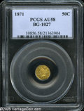 California Fractional Gold: , 1871 50C Liberty Round 50 Cents, BG-1027, R.3, AU58 PCGS. Thisreflective canary-gold piece has an occasional blush of russ...