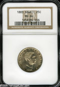 Coins of Hawaii: , 1883 25C Hawaii Quarter MS64 NGC. Well struck with full, bright,sparkling luster, attractive light mottling near the obver...