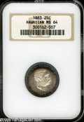 Coins of Hawaii: , 1883 25C Hawaii Quarter MS64 NGC. Well struck and fully lustrous,with lightly marked surfaces that reveal luscious purple-...