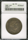 Coins of Hawaii: , 1883 50C Hawaii Half Dollar AU50 ANACS. Fully detailed withscattered light patina, muted luster, slight wear on Kalakaua's...