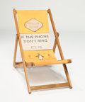 Prints & Multiples, Harland Miller (b. 1964). Deckchair - If The Phone Don't Ring, It's Me, 2013. Screenprint on canvas with merpauh wood. 4...