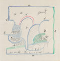 Fine Art - Work on Paper:Print, Saul Steinberg (1914-1999). Untitled (1966), 1996. Ink onsilk scarf. 32 x 32 inches (81.3 x 81.3 cm). Edition of 200. S...
