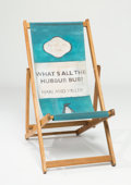 Prints & Multiples, Harland Miller (b. 1964). Deckchair - What's All The Hubbub Bub?, 2013. Screenprint on canvas with merpauh wood. 51-1/2 ...