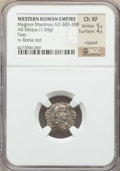 Ancients:Roman Imperial, Ancients: Magnus Maximus (AD 383-388). AR siliqua (1.54 gm).NGCChoice XF 5/5 - 4/5, clipped....