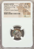 Ancients:Roman Imperial, Ancients: Augustus (27 BC-AD 14). AR denarius (3.79 gm). NGC ChoiceVF 4/5 - 3/5, graffito....