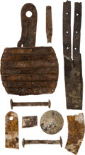 Military & Patriotic:Indian Wars, John Sivertsen: Various Metal and Leather Artifacts Including a Curry Comb for Grooming a Horse....