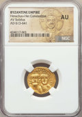 Ancients:Byzantine, Ancients: Heraclius (AD 610-641) and Heraclius Constantine.AVsolidus. NGC AU....