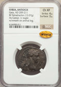 Ancients:Roman Provincial , Ancients: SYRIA. Antioch. Geta (AD 209-211). BI tetradrachm (13.07gm). NGC Choice XF 4/5 - 3/5....