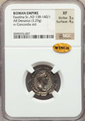 Ancients:Ancient Lots  , Ancients: ANCIENT LOTS. Roman Imperial. Faustina I (AD 138-140/1).Lot of two (2) AR denarii. NGC XF.... (Total: 2 coins)