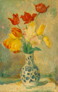 Paintings, Henri Baptiste Lebasque (French, 1865-1937). Tulips in a Delftware vase. Oil on canvas. 27-3/4 x 18 inches (70.5 x 45.7 ...