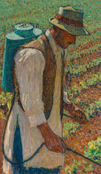 "Henri Jean Guillaume Martin (French, 1860-1943) Le Sulfateur (Study for ""Le Sulfatage"") Oil on canva"