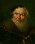 Paintings, Giuseppe Nogari (Italian, 1699-1763). Bearded old man wearing a fur-trimmed cloak with gold clasp, circa 1750. Oil on ca...