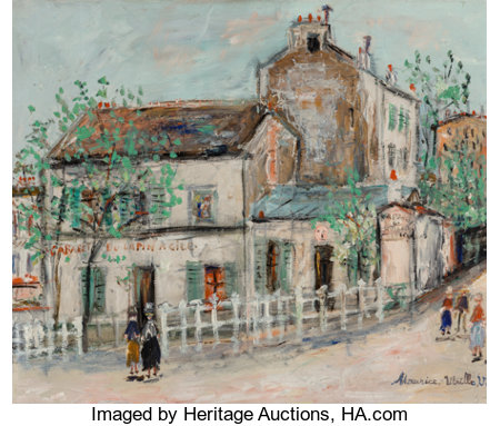 Maurice Utrillo (French, 1883-1955) Cabaret du Lapin Agile Oil on canvas 18-1/8 x 21-3/4 inches (46.0 x 55.2 cm) Sig...