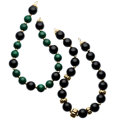 Estate Jewelry:Necklaces, Malachite, Black Onyx, Gold Necklaces. ... (Total: 2 Items)
