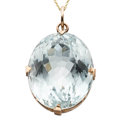 Estate Jewelry:Pendants and Lockets, Blue Topaz, Gold Pendant-Necklace. ...