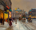 Paintings, Edouard-Léon Cortès (French, 1882-1969). Avenue de l'Opéra, Snow. Oil on canvas. 18 x 21-3/4 inches (45.7 x 55.2 cm). Si...