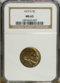 1919-S 5C MS63 NGC. A typically soft strike has left some of the design elements with a mushy appearance, including the...