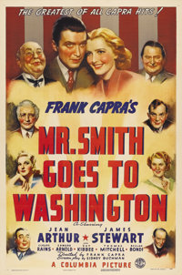 """Mr. Smith Goes to Washington (Columbia, 1939). One Sheet (27"""" X 41"""") Style A. Jimmy Stewart starred in this Fr..."""