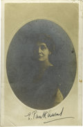 "Autographs:Celebrities, Emmeline Pankhurst Autographed Postcard Signed ""E.Pankhurst"". This rare and highly sought after card is boldlysigned i..."