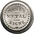 Civil War Merchants: , 1863 Monk's Metal Signs, Fuld-NY-630BB-7e, R.9, MS65 NGC. Whitemetal. Another example from the Monk's series of Civil War T...