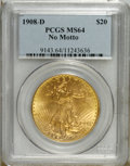 Saint-Gaudens Double Eagles: , 1908-D $20 No Motto MS64 PCGS. Choice with pleasing luster andinteresting peach-gold color. A well struck double eagle tha...