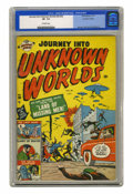 Golden Age (1938-1955):Horror, Journey Into Unknown Worlds #38 (#3) Canadian Edition (BellFeatures, 1951) CGC VF- 7.5 Off-white pages. ...