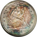 Proof Seated Quarters: , 1864 25C PR66 NGC. A beautifully toned specimen whose apricot-goldfields and devices are bounded by salmon-pink, blue-gree...