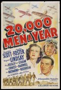 "Movie Posters:Action, 20,000 Men a Year (20th Century Fox, 1939). One Sheet (27"" X 41"").Action...."