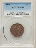 Two Cent Pieces: , 1868 2C MS64 Brown PCGS. PCGS Population: (58/11). NGC Census: (66/38). CDN: $250 Whsle. Bid for problem-free NGC/PCGS MS64...