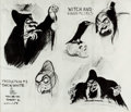 animation art:Model Sheet, Snow White and the Seven Dwarfs Witch and Raven Studio ModelSheets (Walt Disney, 1937)....