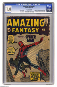 Amazing Fantasy #15 (Marvel, 1962) CGC GD- 1.8 Off-white pages. When this title changed from Amazing Adult Fantasy to...