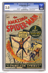The Amazing Spider-Man #1 (Marvel, 1963) CGC GD/VG 3.0 White pages. Spider-Man's origin is retold in this inaugural issu...