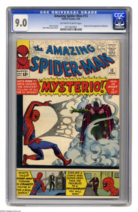 The Amazing Spider-Man #13 (Marvel, 1964) CGC VF/NM 9.0 Off-white to white pages. Stan Lee story. Steve Ditko cover and...